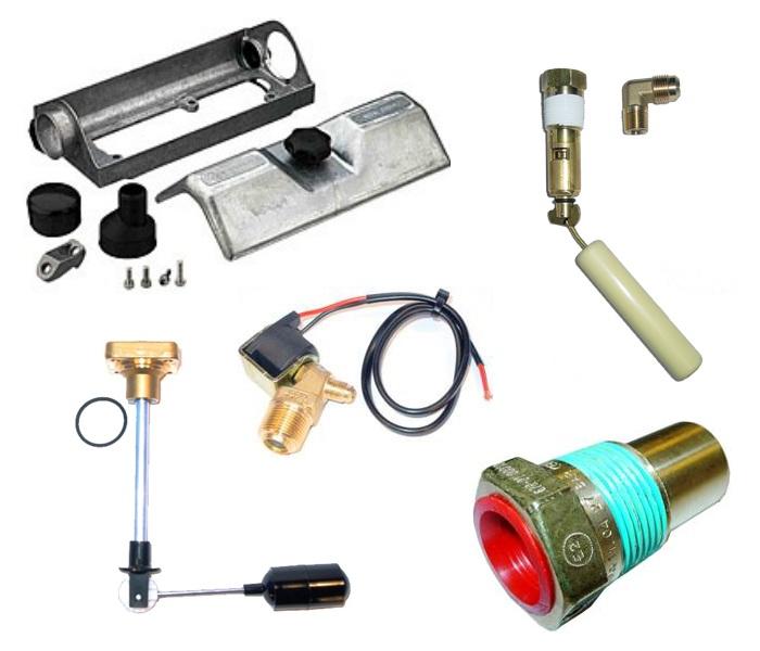 Appendages pour réservoir à plaque ( coffret GZWM , vanne de remplisage 80 % , soupape de sécurité, soupape de sécurité, electrovanne Valtek BFC, jauge.