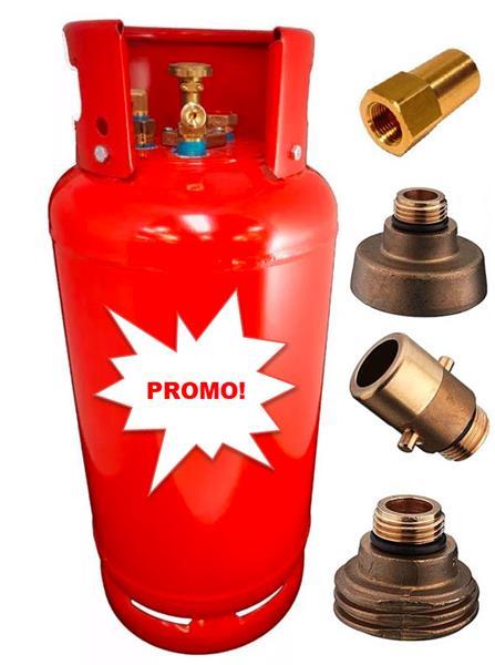 Vertical LPG bottle 27L + side fill + 3 filling adapters