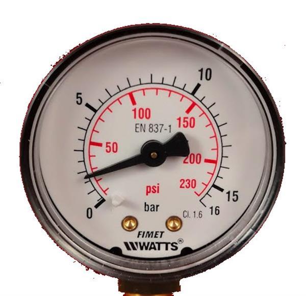 Manometer 1/4G - 0/10 bar met ijkingscertificaat