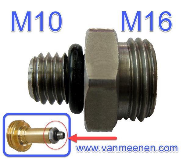 Tussenstuk M10xM16 met O-ring