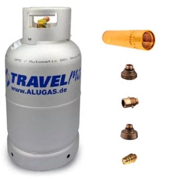 LPG gasfles Aluminium + zijvulling + filter + terugslagklep + 4x vulnippel